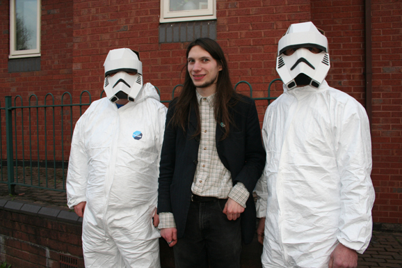 Craigus of Worcester Comic book shop with two stormtroopers